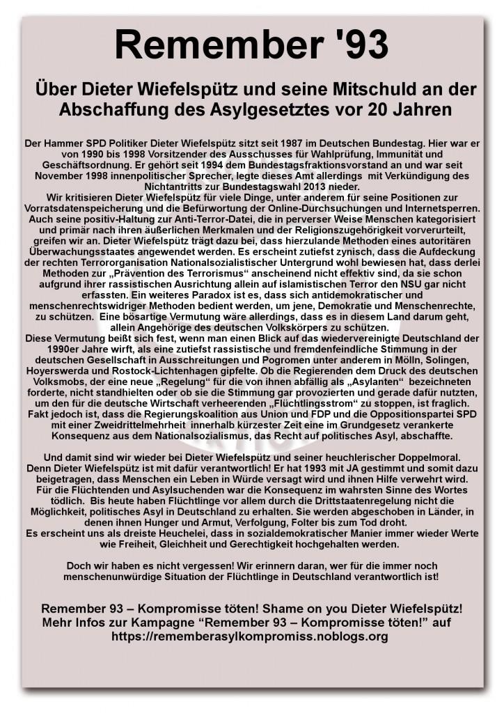 Antifa Hamm Remember 93 Kompromisse töten Asylrecht Bundestagswahl SPD